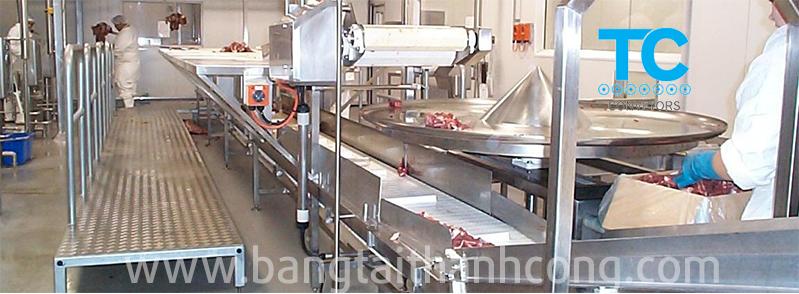 Băng tải chế biến thịt gia súc gia cầm